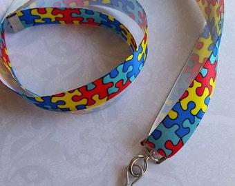 Autism Awareness Satin Ribbon Lanyard