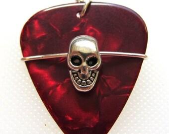 Guitar Pick Pendant - Skull on Red pick