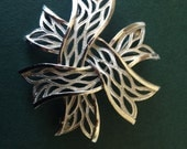Vintage Signed Crowne Trifari Textured Silver Abstract Brooch