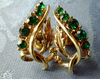 Earrings Vintage Screwbacks Green Rhinestones Goldtone Leaves