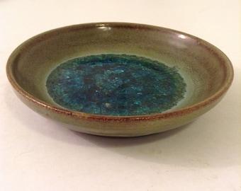 Jade Snow Wong Signed Plate, Bowl   Modernist Studio Pottery.  California Pottery.  Mid Century Modern, Eames era. Vintage 1950.