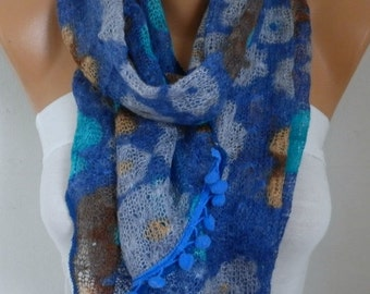 Blue Floral Knitted Scarf,Teacher Gift  Winter Accessories Cowl  Scarf  Multicolor Gift Ideas For Her  Women's Fashion Accessories