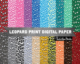 Bright Leopard Print Digital Paper, Colorful Animal Pattern, Commercial Use Digital Paper