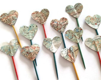 12 Party Picks, Cupcake Toppers, Vintage Map Hearts