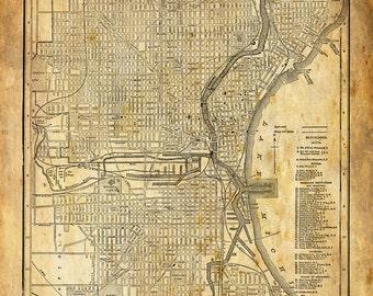 Milwaukee Map - Street Map Vintage Grunge Sepia Poster Print