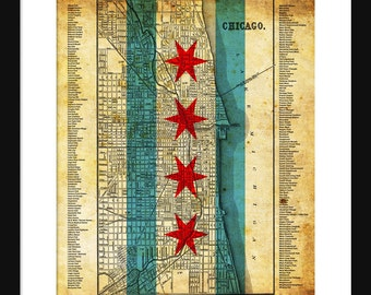 Chicago Neighborhood Map Grunge Flag Print Poster
