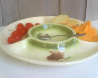 Vintage Lane Co Chip & Dip Plate / Atomic Serving Dish / Asian Serving Piece