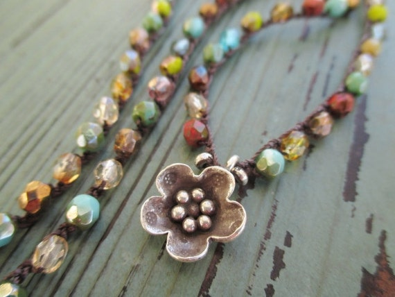 Colorful crochet flower necklace - Tapestry - Thai silver multi color turquoise red rustic southwestern country boho chic by slashKnots