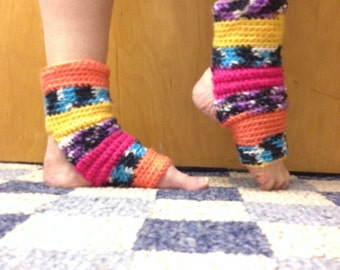Yoga Socks in Caribbean Tapestry Acrylic -- for Dance, Yoga, Pedicures, Pilates.