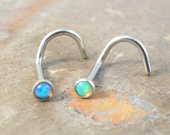 Nose Ring Blue Opal and Green Fire Opal Corkscrew Nose Piercing