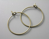 HOOP-AB-WINE-20MM - 20mm Antique Bronze Plated Hoop Earrings - 20 pcs