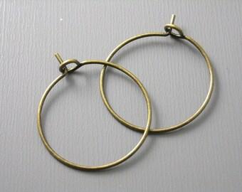 HOOP-AB-WINE-20MM - 20mm Antique Bronze Plated Hoop Earrings - 20 pcs
