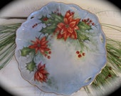 Stunning Vintage Hand Painted Poinsettia Plate