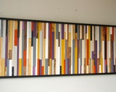 Reclaimed Wood Art, wall sculpture 3D framed, 24 x 64, painted wood pieces, mustard, aubergine, beige, walnut, yew, oak