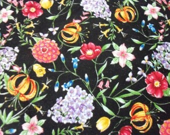 Gorgeous Flowers Fabric on a Black Background By The Fat Quarter New BTFQ