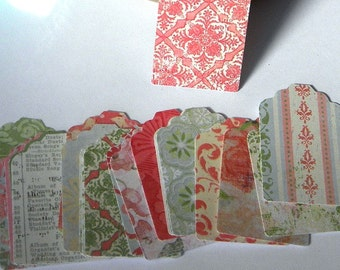 20 paper gift tags - shabby print paper tags- use for gift tags - wedding tags - favor tags