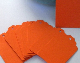 150 Paper Tags in orange - orange paper tags - gift tags - wedding  tags - favor tags - hang tags - gift wrap - supplies