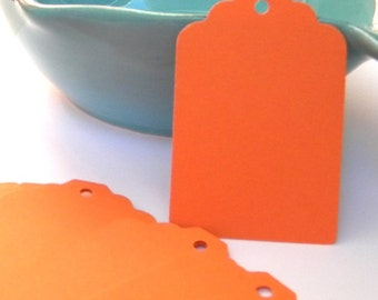 75 Paper Tags in orange - orange paper tags - gift tags - wedding  tags - favor tags - hang tags - gift wrap - supplies