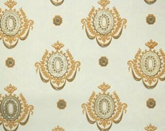 Retro Flock Wallpaper by the Yard 70s Vintage Flock Wallpaper - 1970s Gold Damask Flock Medallions on Ivory