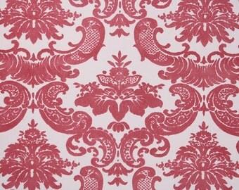 Retro Flock Wallpaper by the Yard 70s Vintage Flock Wallpaper - 1970s Raspberry-Pink Flock Damask on Light Pink