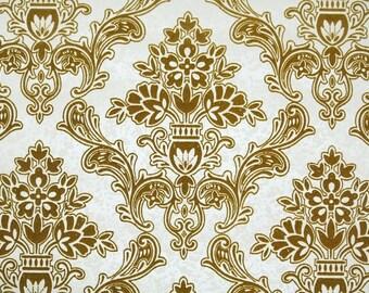 Retro Flock Wallpaper by the Yard Vintage Flock Wallpaper - 1970s Gold Flock Damask on White