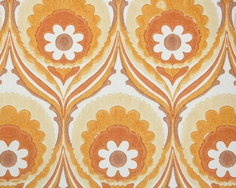 Retro Wallpaper by the Yard 70s Vintage Wallpaper - 1970s Orange and White Floral Mod Damask