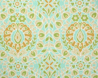 Retro Wallpaper by the Yard 60s Vintage Wallpaper - 1960s Aqua Blue Green Tan and Orange Floral Damask