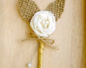 Rustic Boutonniere, Lace Boutonniere, Shabby Chic Wedding, Rustic Wedding, Burlap and Lace -Top Selling
