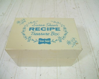 Stop & Shop Recipe Box Susan Shaws Recipe Treasure - Vintage Blue on White Painted Metal Box - Mid Century Iconic New England File Organizer