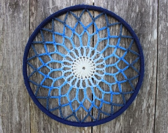 Crochet Mandala - Wall art - Blue Ombre