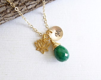 Gold Lotus Flower Birthstone Initial Trio Necklace -- 14k Gold filled Chain -- Choose Your Stone and Initial
