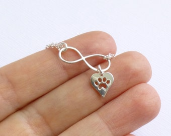 Sterling Silver Infinity Heart with Paw Print Bracelet... Pet Love or Remembrance