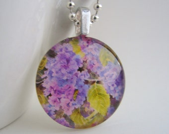 Hydrangea Glass Tile Pendant with Free Shiny Ball Chain Necklace