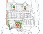 Christmas Card, custom, house portrait, digital file