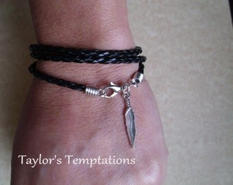 Feather Multi Wrap Braided Leather Charm Bracelet Boho Bracelet Feather Triple Wrap Leather Bracelet Made in USA