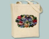Vintage Doves All Joys Be Thine Natural or Black Canvas Tote -Selection of sizes available