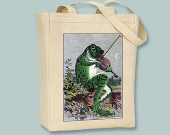 Quirky Children's Book Owls and Dancing Frogs Natural or Black Canvas Tote - Selection of sizes available