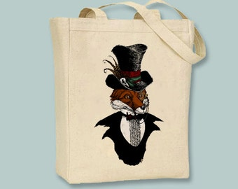 Vintage Illustration Gentleman Fox Canvas Tote  -  Selection of sizes available