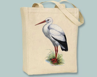 Vintage Stork or Egret on Canvas Tote -- Selection of  sizes available