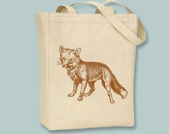Beautiful Vintage Fox Illustration (Black or Red) Canvas Tote -  Selection of sizes available