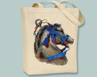 Beautiful Vintage Horse Head illustration on Canvas Tote -- Selection of sizes available