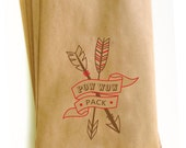 Cowboy and Indian Party Favors - Custom printed Kraft snack bags - birthday party treat bag - catering bag