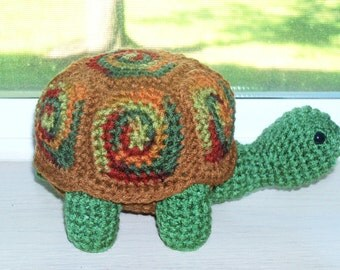 SALE! Amigurumi Turtle Doll - Autumn Leaves -Turtle With Removable Shell - WAS 28.00 USD