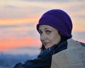 Knit Slouchy Hat Knit Women Cable Hat Purple Beanie Braided Winter Cap Wool Warm Beanie - KH0008