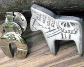 Vintage Dala Horse Pin & South American Cowboy Tack Pin  To Wear Together or Separately.  Swedish Horse Pewter Pin