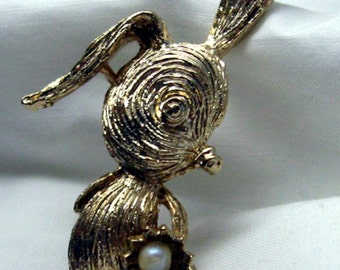 An Adorable Shy Bunny Brings You A Pearl Centered Flower  Vintage Golden Brooch  Spring Love For You  Easter Rabbit Floral Gift