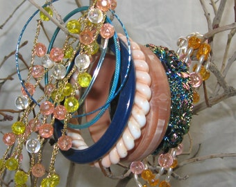 Vintage & Handmade Midcentury to 1980s  Beaded Crochet Necklaces and Bangle Stack Fun Galore Fakelite Aluminum Faux Pearl, Rainbow Beads