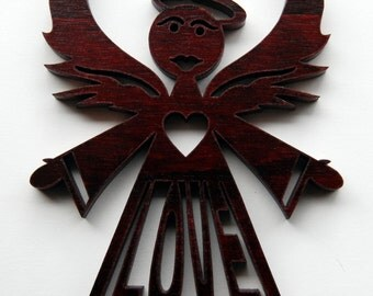 Red LOVE Angel, Holiday, Angel of Love Christmas Ornament
