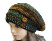 Crochet Hat, Ccrochet Beret, Girls beret, christmas gift, winter accessories, womens fashion, mustard and green