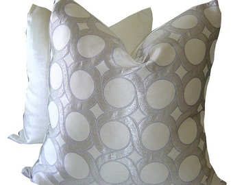 Modern Pillows - Grey Pillows - Silk Pillows - Faux Silk Pillows - Decorative Pillow - Glam Pillow - Toss Pillow - PILLOW COVER ONLY